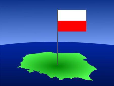 polish flag: map of poland and Polish flag on pole illustration