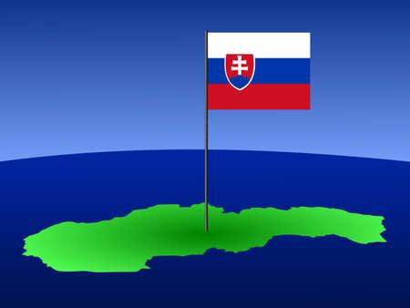slovakian: map of Slovakia and Slovakian flag on pole illustration