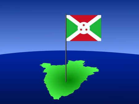 map of Burundi and their flag on pole illustration illustration