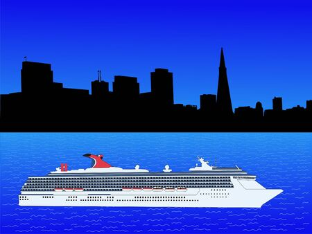 transamerica: San Francisco Skyline with cruise ship illustration