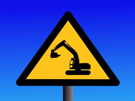 operating: warning excavator operating sign illustration against blue sky Stock Photo