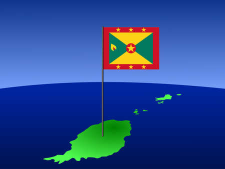 grenada: map of Grenada and their flag on pole illustration Stock Photo