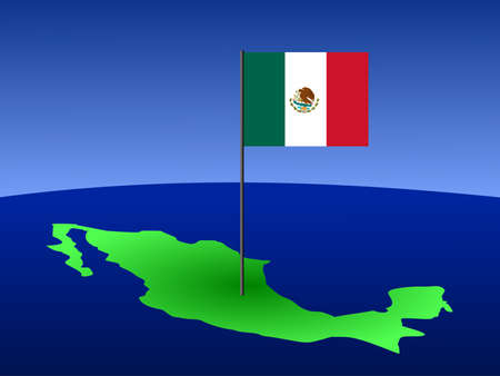 map of Mexico and Mexican flag on pole illustration illustration