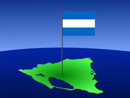map of Nicaragua and Nicaraguan flag on pole illustration illustration