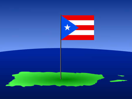 puerto rican flag: map of puerto rico and puerto rican flag on pole illustration Stock Photo