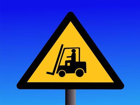Forklift truck sign illustration against blue sky illustration