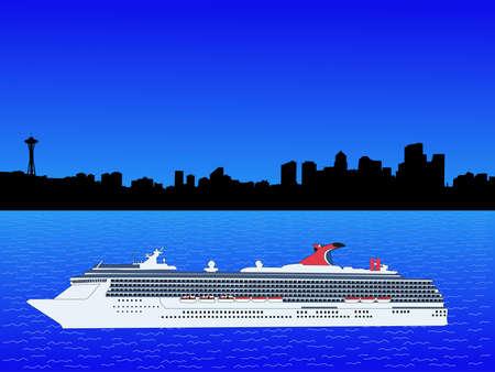 cruise ship with Seattle Washington skyline illustration illustration