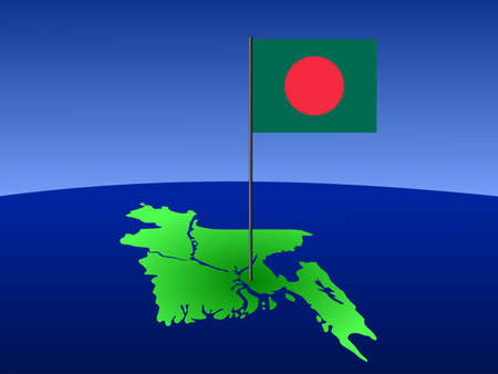 map of Bangladesh and their flag on pole illustration illustration