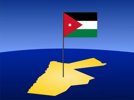 map of Jordan and their flag on pole illustration illustration