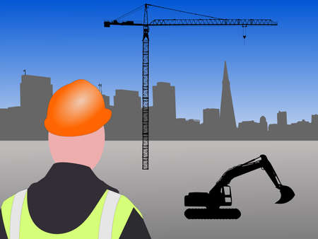 transamerica: Construction worker with machinery and crane at San francisco building site