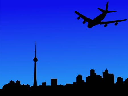 arriving: four engine plane arriving in Toronto illustration Stock Photo