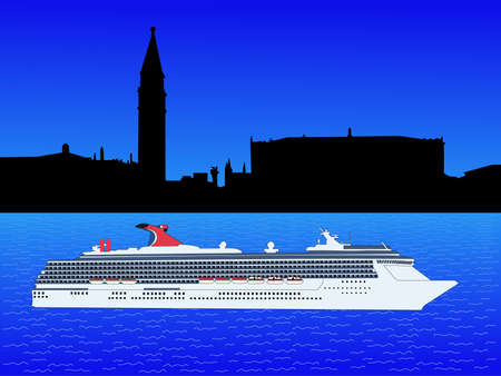 st marks square: Cruise ship on Grand Canal with St Marks Square venice
