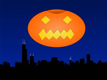 the sears tower: Chicago skyline at halloween with giant pumpkin lantern