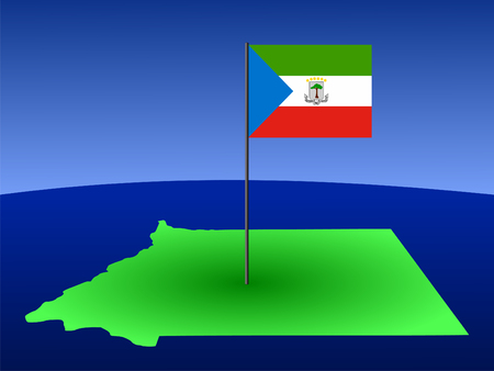 map of Equatorial Guinea and their flag on pole illustration illustration