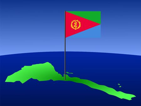 eritrea: map of Eritrea and their flag on pole illustration Stock Photo