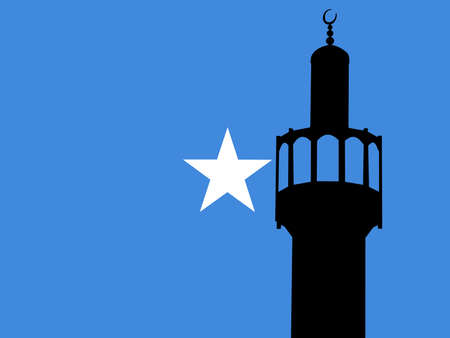 Minaret of mosque against Somalian Flag photo
