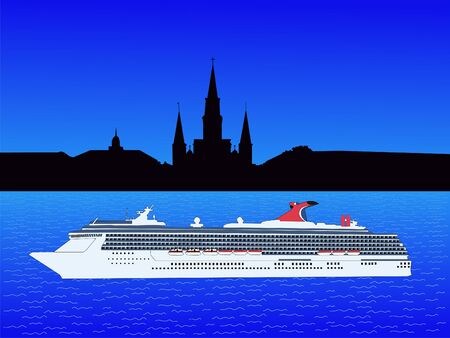 Cruise ship and St Louis Cathedral New Orleans photo