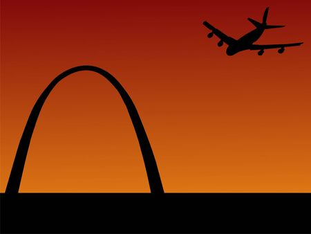 arriving: plane arriving at St louis with Gateway arch  Stock Photo