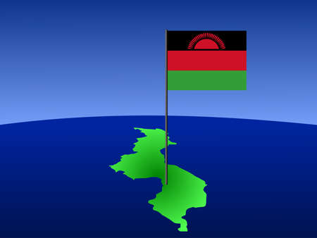 malawi: map of Malawi and their flag on pole illustration Stock Photo