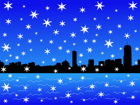 iciness: Boston skyline in winter with falling snow illustration Stock Photo