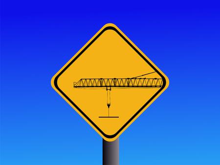 warning cranes operating yellow sign on blue illustration  illustration