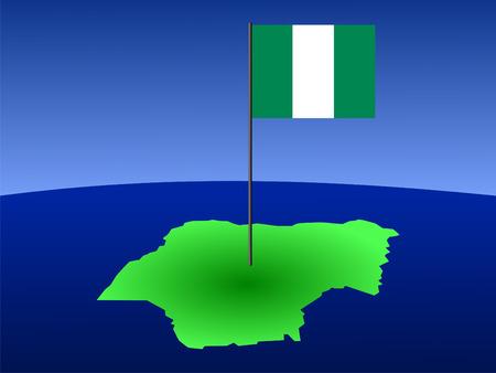 map of Nigeria and their flag on pole illustration illustration