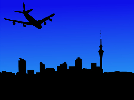 arriving: four engine plane arriving in Auckland illustration