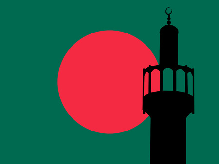 bangladesh: Minaret of mosque against bangladeshi Flag