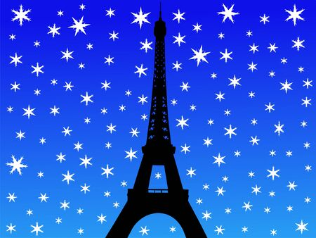 Eiffel tower in winter with falling snow illustration