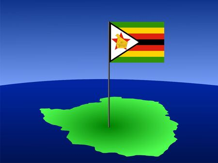 map of Zimbabwe and their flag on pole illustration illustration