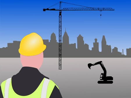 transamerica: Construction worker with machinery and crane at Philadelphia building site