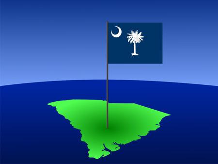 map of South Carolina and their flag on pole illustration illustration