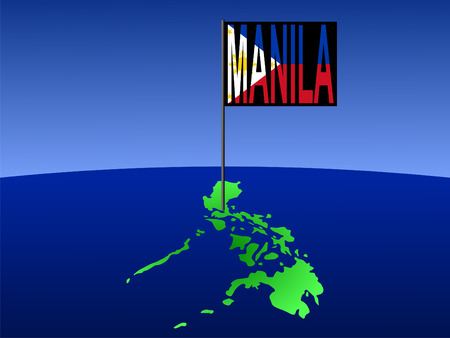 filipino: map of Philippines with position of Manila marked by pole illustration