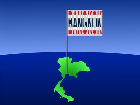 marked: map of Thailand with position of Bangkok marked by pole illustration