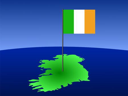 irish map: map of ireland and their flag on pole illustration