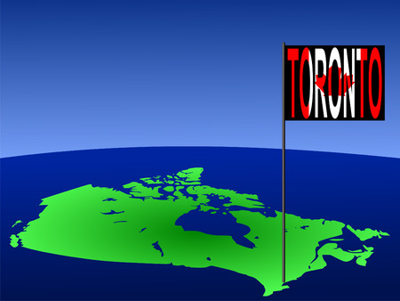 marked: map of Canada with position of Toronto marked by flag pole illustration