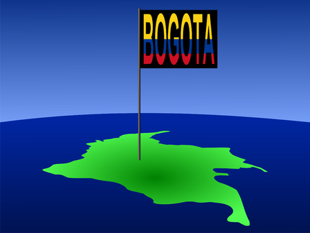 map of Colombia with position of Bogota marked by flag pole illustration illustration