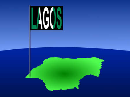 map of Nigeria with position of Lagos marked by flag pole photo