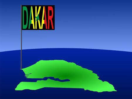 dakar: map of Senegal with position of Dakar marked by flag pole