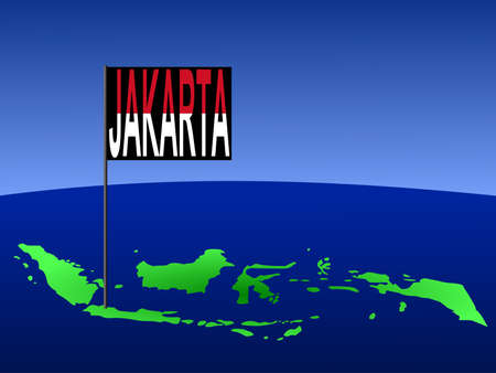 jakarta: map of Indonesia with position of Jakarta marked by flag pole illustration