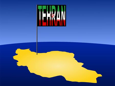 marked: map of Iran with position of Tehran marked by flag pole illustration Stock Photo