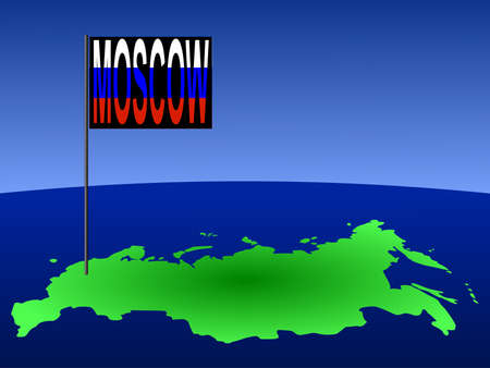 marked: map of Russian Federation with position of Moscow marked by flag pole illustration Stock Photo