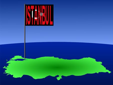 map of Turkey with position of Istanbul marked by flag pole illustration illustration