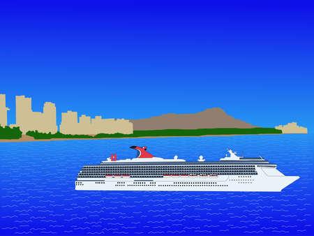 oahu: Cruise ship with Waikiki Skyline oahu Hawaii Stock Photo