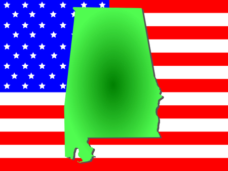 Map of the State of Alabama on American flag Reklamní fotografie