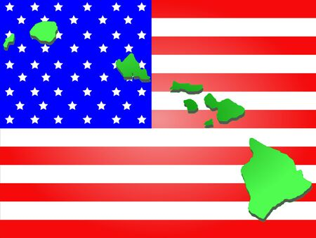 oahu: Map of the State of hawaii on American flag