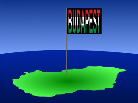 map of Hungary with position of Budapest marked by flag pole illustration illustration