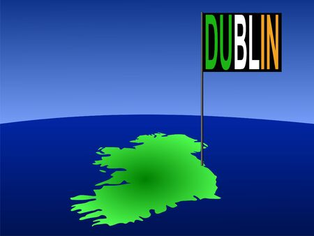irish cities: map of Ireland with position of Dublin marked by flag pole illustration Stock Photo