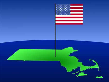 map of Massachusetts with American Flag on pole