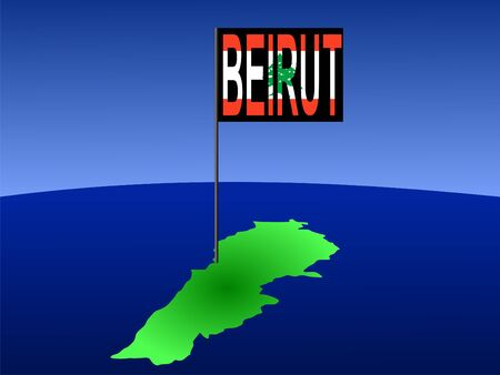 map of Lebanon with position of Beirut marked by flag pole illustration illustration